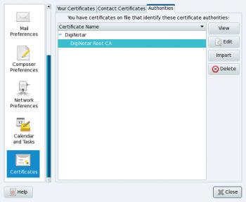 DigiNotar Certificate