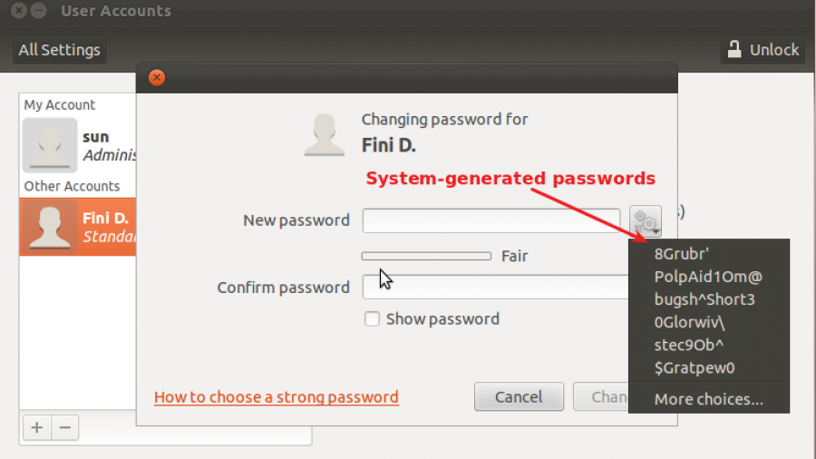 Ubuntu 11.10 Specify Password
