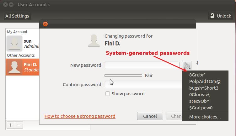 Ubuntu 11.10 Specify Password