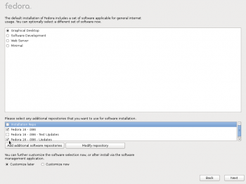 Fedora 16 Package Selection