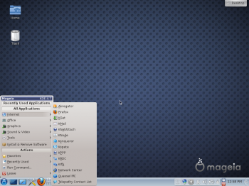 Mageia 2 KDE Desktop Classic Menu