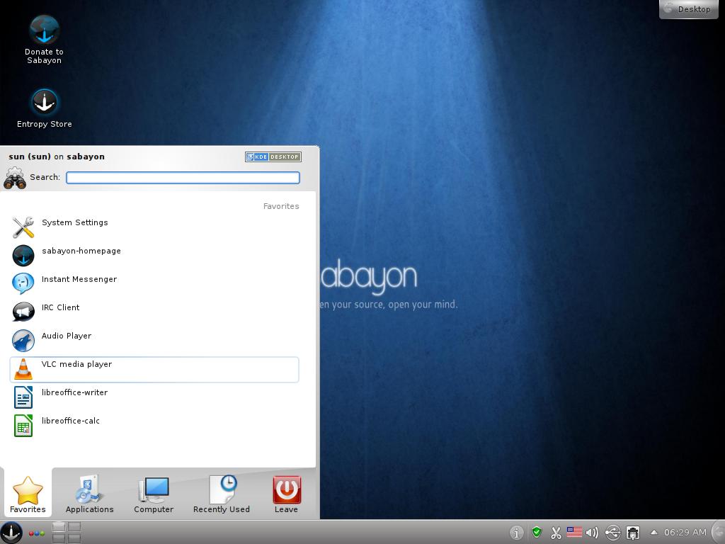 Sabayon 7 KDE Desktop