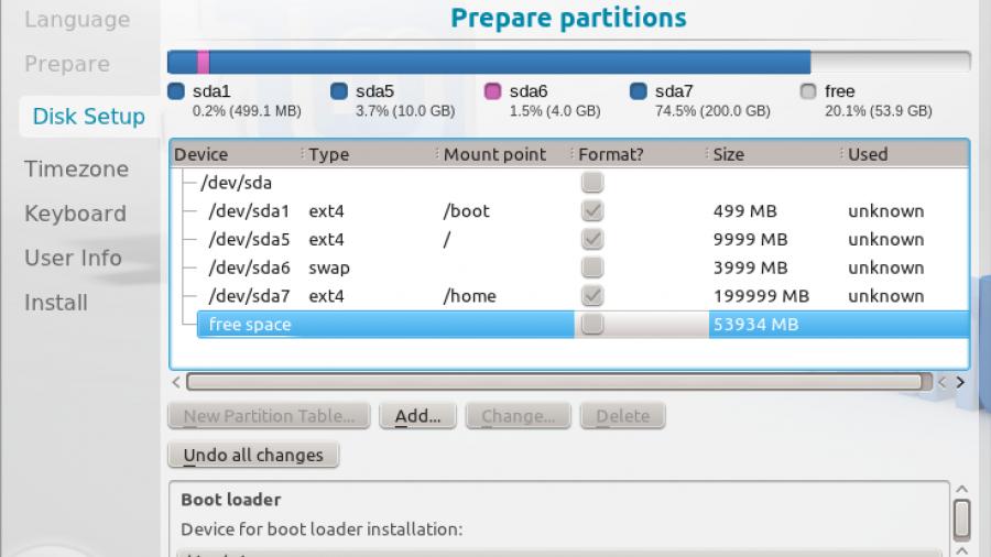 Linux Mint 12 KDE Partition Finished