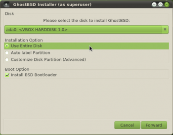GhostBSD Disk Partition Options