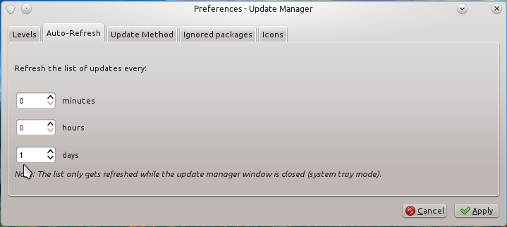 Linux Mint 12 KDE Update Setting