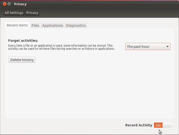 Ubuntu 12.04 Privacy Setting