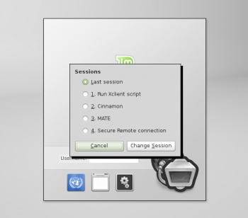 Linux Mint Debian Login Screen