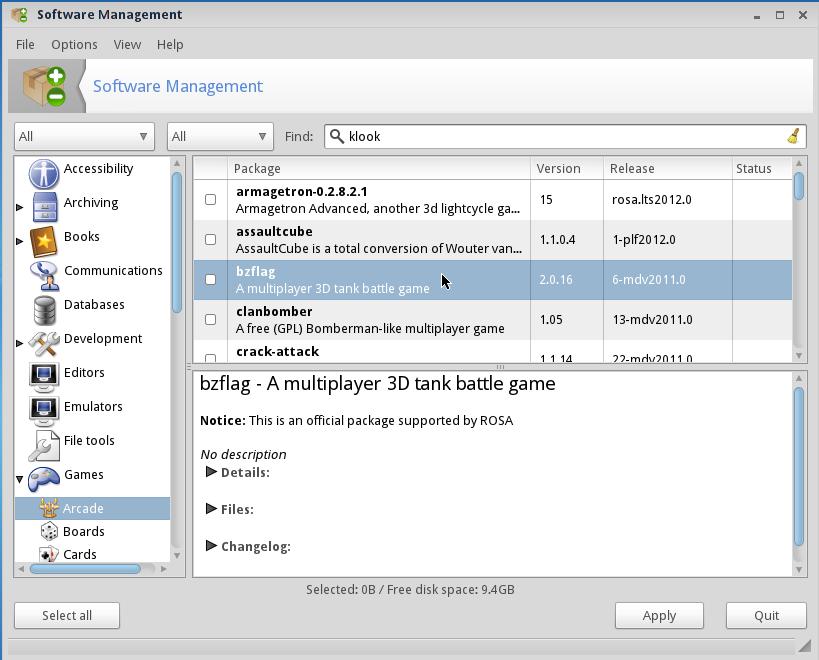 ROSA 2012 LXDE Desktop Software Manager
