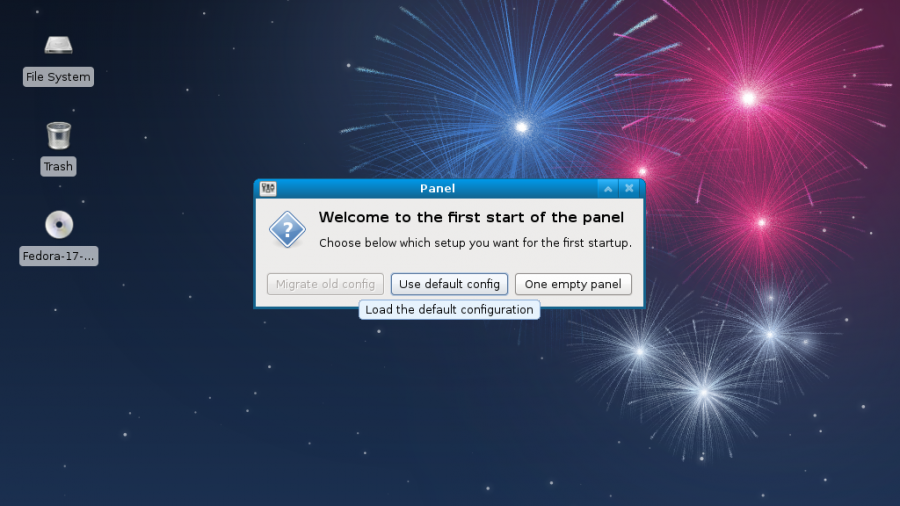 Fedora 17 Beta Xfce Panel