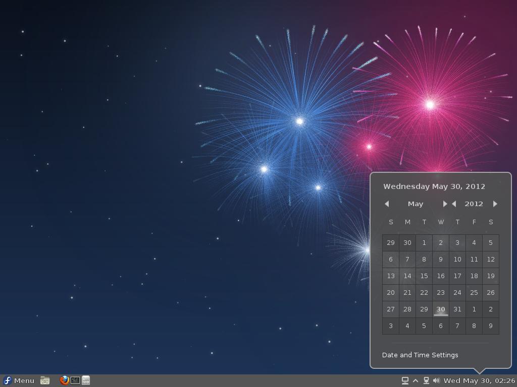 Fedora 17 Cinnamon Date Applet