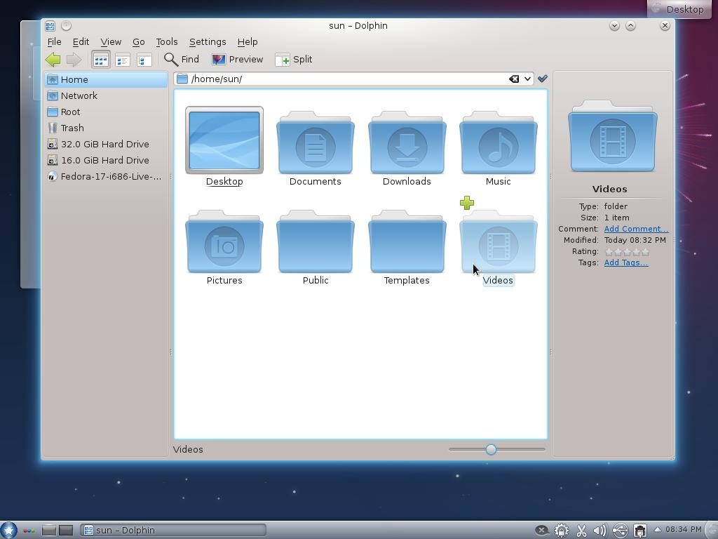 Fedora 17 KDE Dolphin ROSA Theme