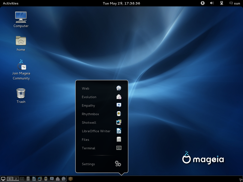 Mageia 2 GNOME Panel-Docklet