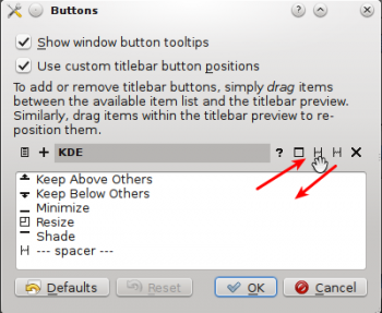 KDE Windows Configuration Titlebar