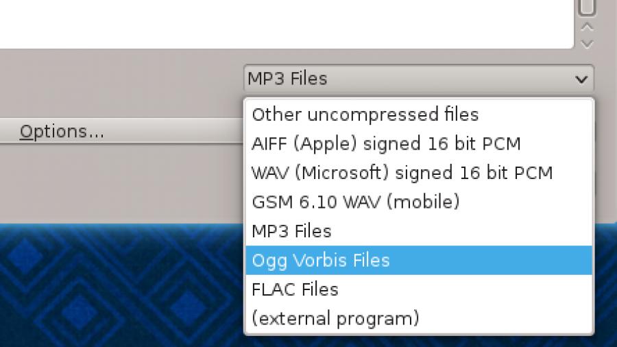 Audacity export audio track .ogg .mp3