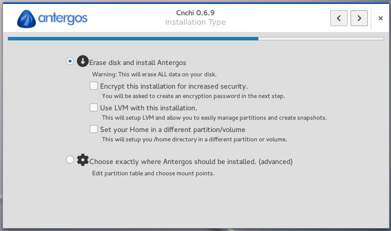 Antergos Cnchi disk encryption LVM