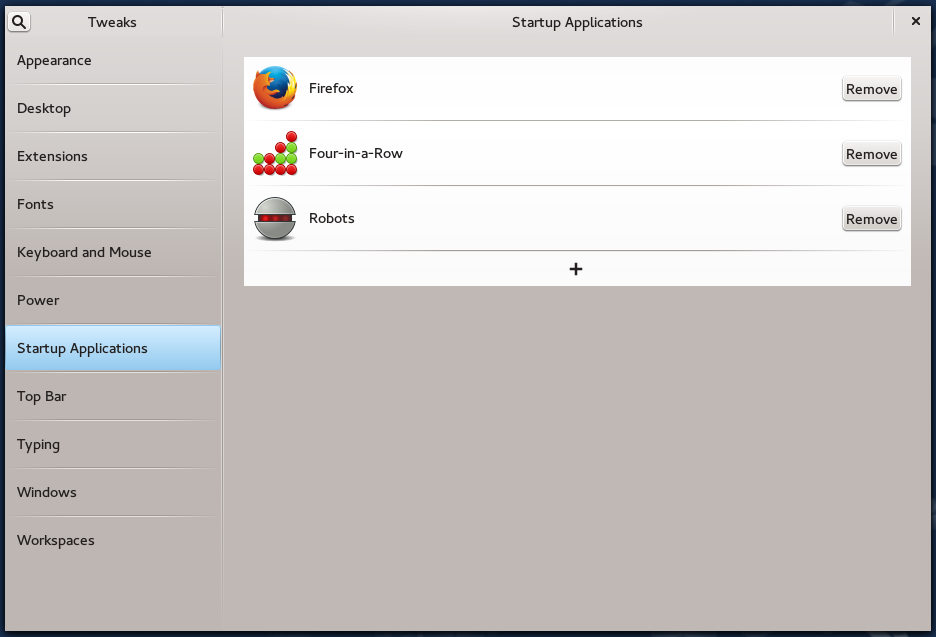 GNOME Tweak Tool startup apps