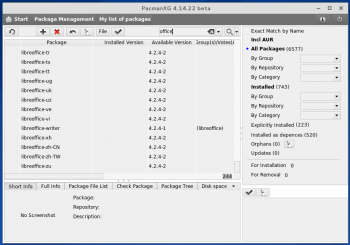 PacmanXG Pacman package manager