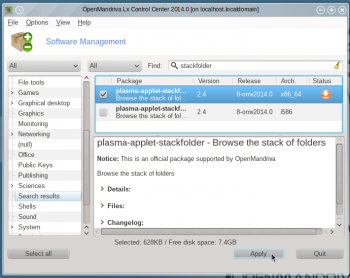 OpenMandriva Lx 2014 app manager