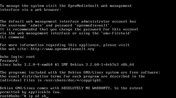 OpenMediaVault console