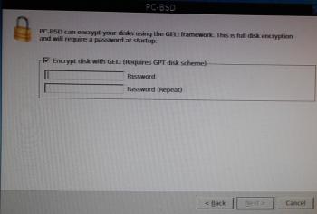 PC-BSD 10 disk encryption passphrase