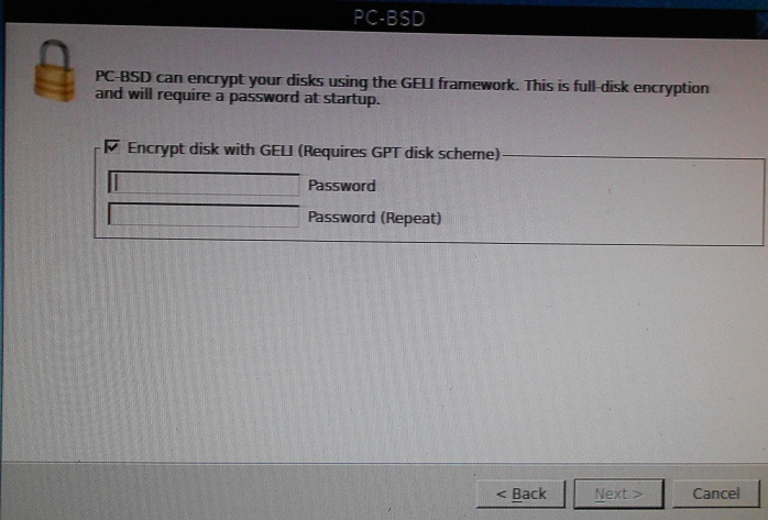 PC-BSD 10 disk encryption passphrase