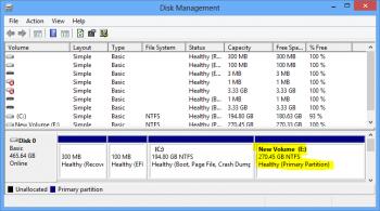 Windows 8 E partition