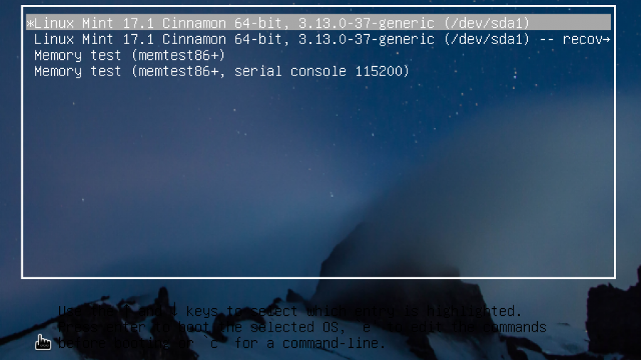 GRUB Linux Mint 17.1 Cinnamon