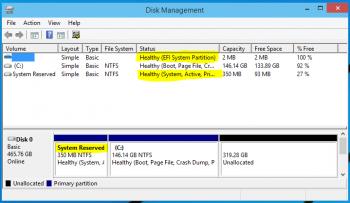 Windows 10 Tech Preview partitions