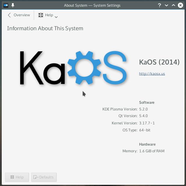 KDE Framework 5 System info
