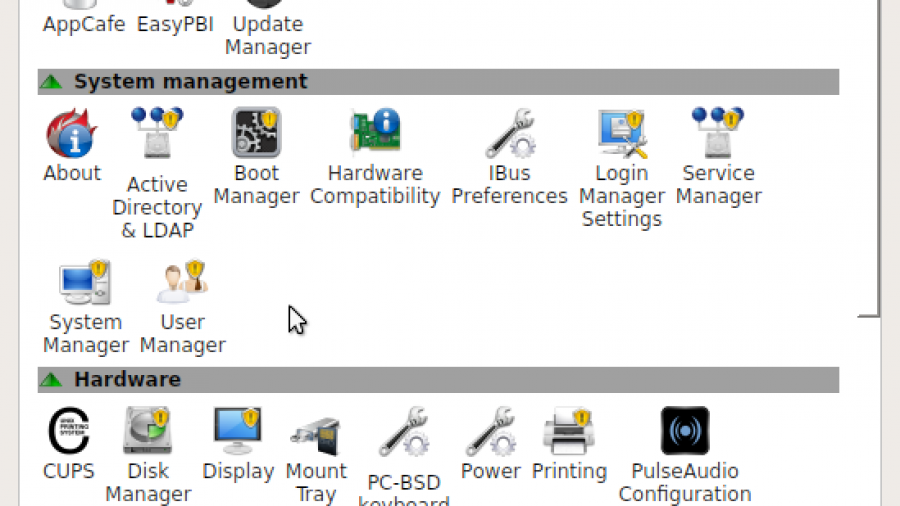 Figure : PC-BCD Control Center on PC-BSD 10.1.1