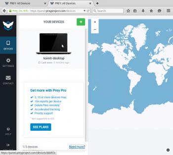 Prey Web UI anti-theft