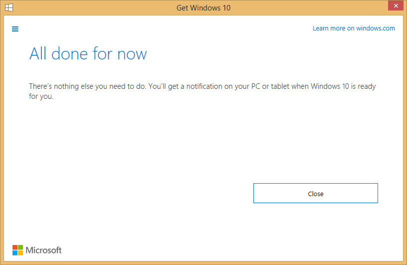 Windows 10 reserved notification