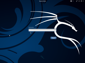 Kali Linux login window