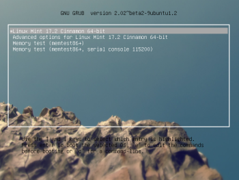 GRUB menu Linux Mint 17.2