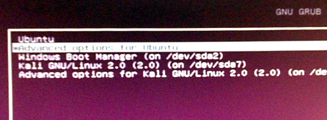Ubuntu 15.10 GRUB boot menu