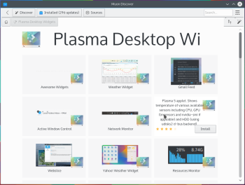 KDE Plasma 5 desktop widgets
