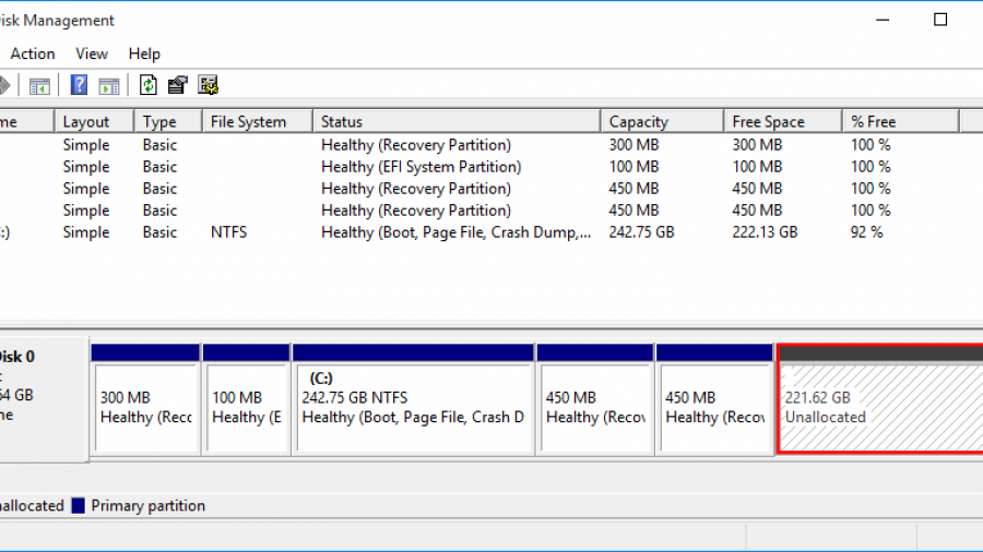 Windows 10 partitions