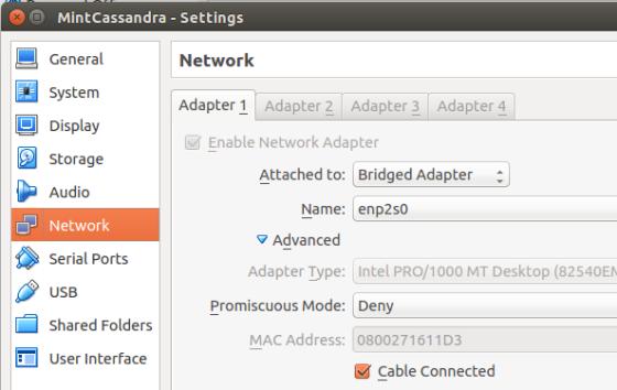 bridge networking for VirtualBox