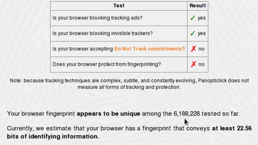 Browser fingerprinting with NoScript