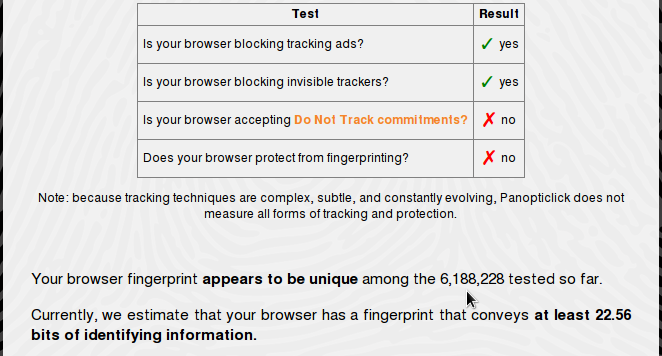 Browser fingerprinting with NoScript