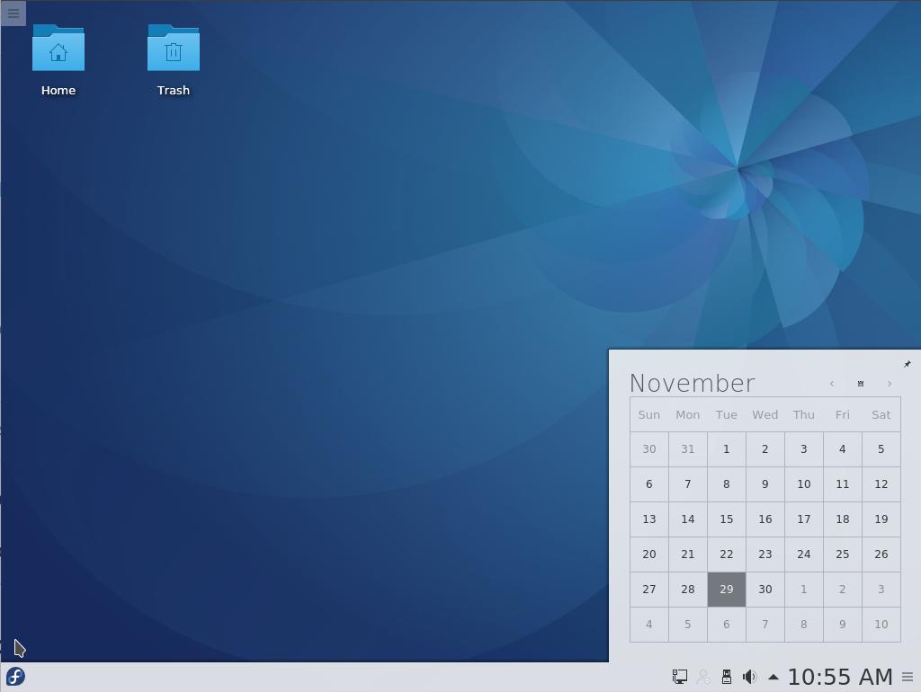 Fedora 25 KDE desktop calendar