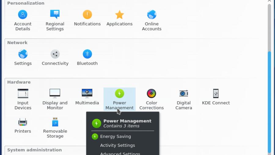 Fedora 25 KDE System Settings