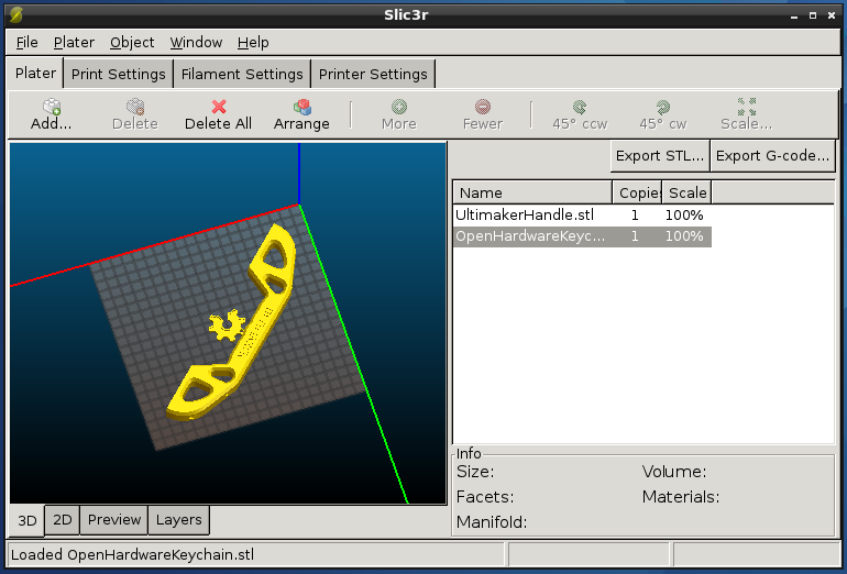 Slic3r for 3D printers