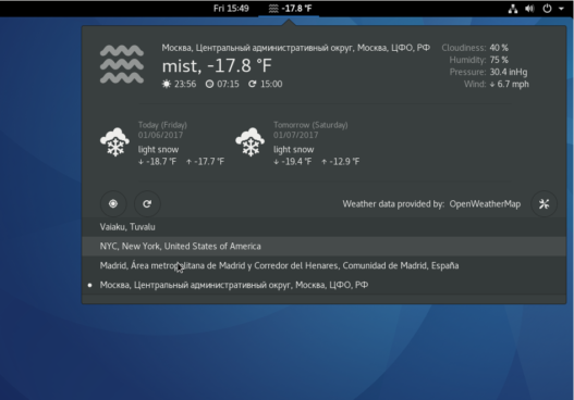 Openweather GNOME Shell extension