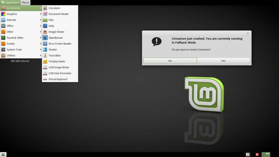 Cinnamon desktop in faallback mode