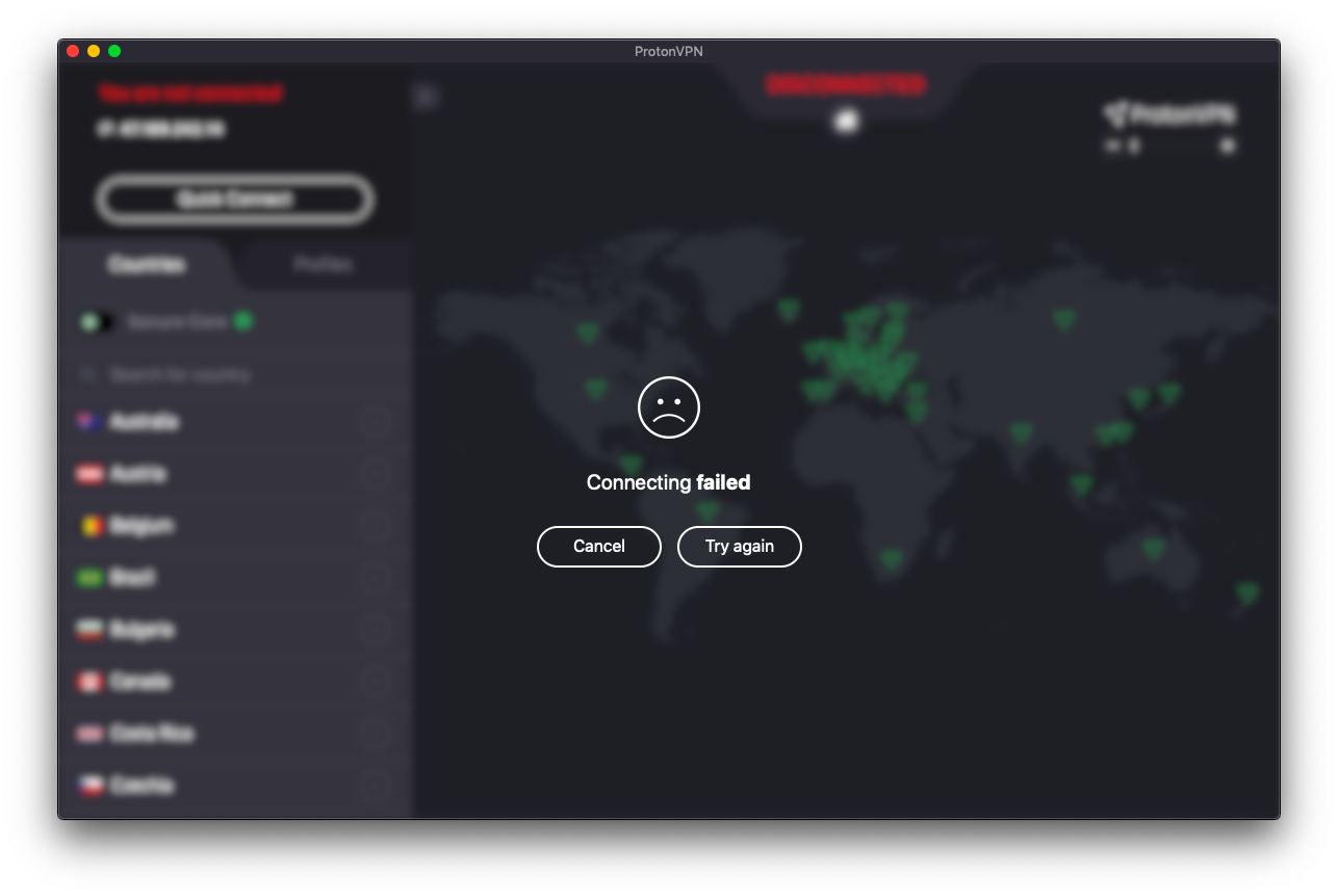 ProtonVPN USA connection